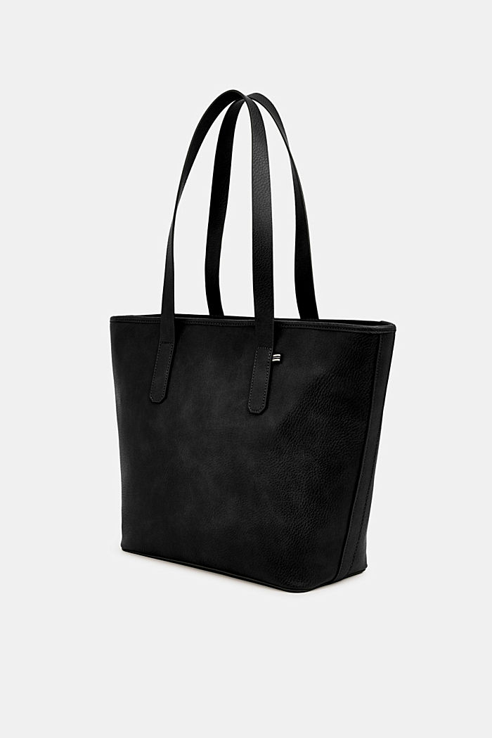 Faux leather shopper, BLACK, detail image number 2