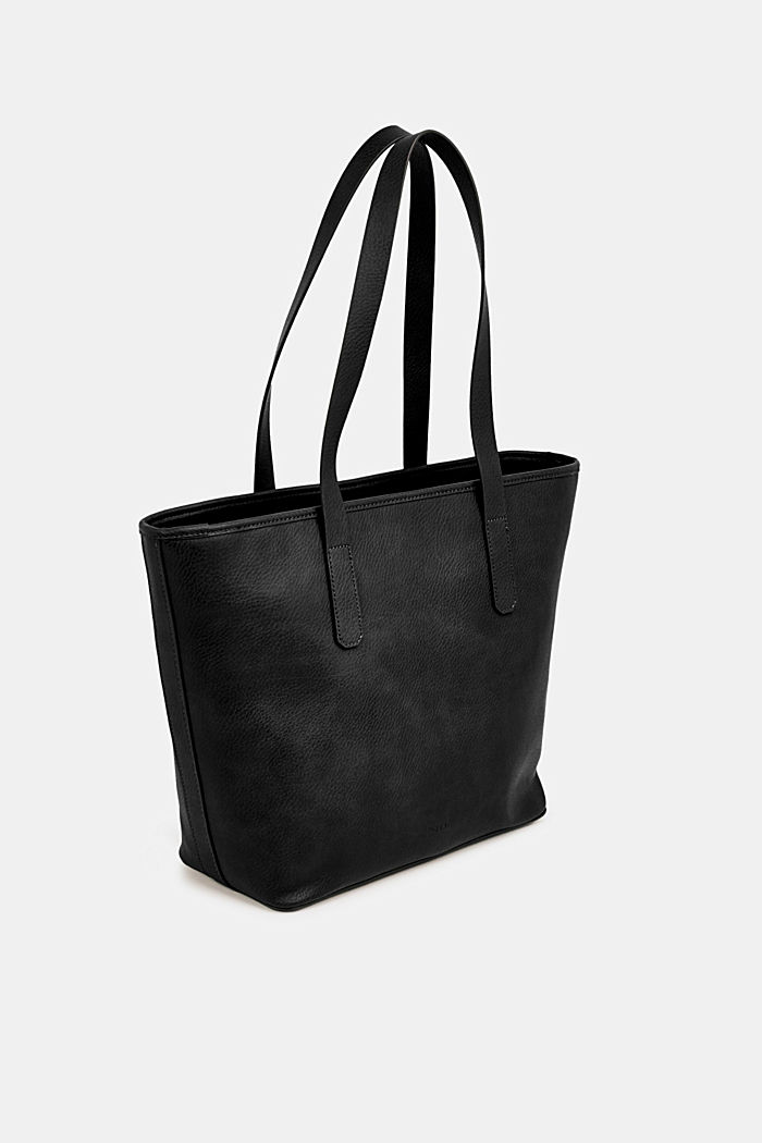 Faux leather shopper, BLACK, detail image number 5