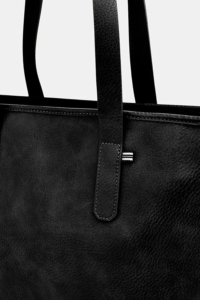 Faux leather shopper, BLACK, detail image number 3