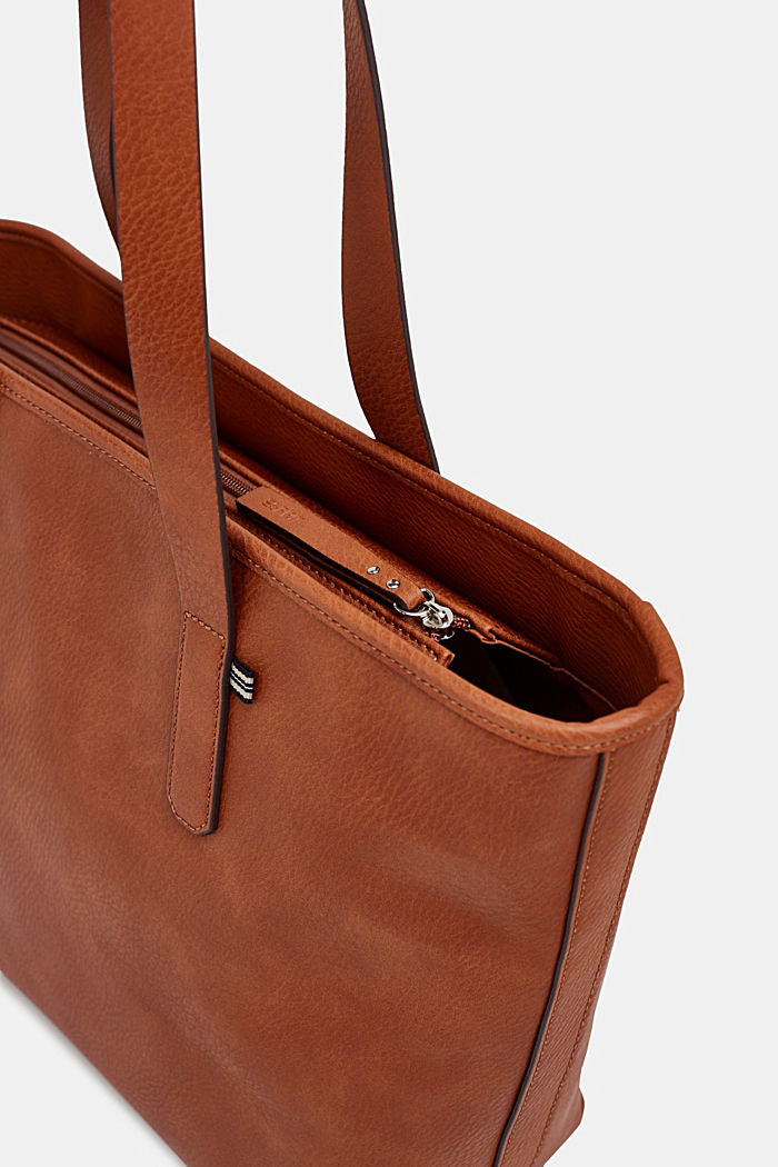 Faux leather shopper, RUST BROWN, detail image number 6