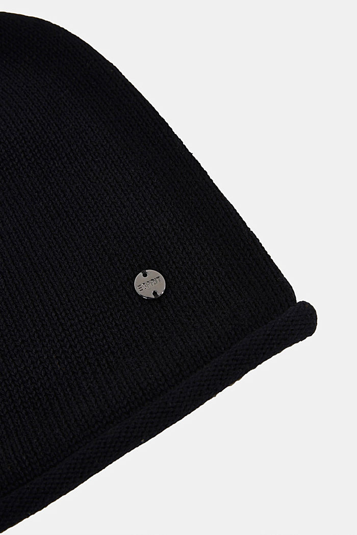 Beanie made of 100% organic cotton, BLACK, detail image number 1