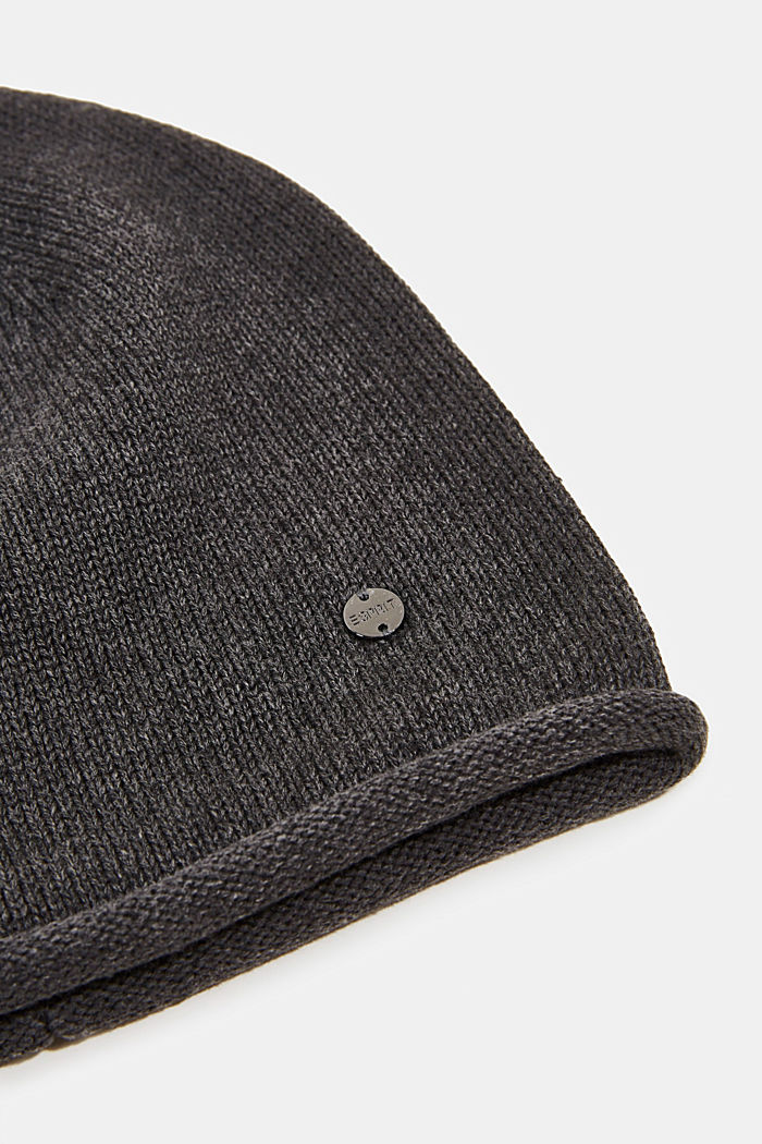 Beanie made of 100% organic cotton, DARK GREY, detail image number 1