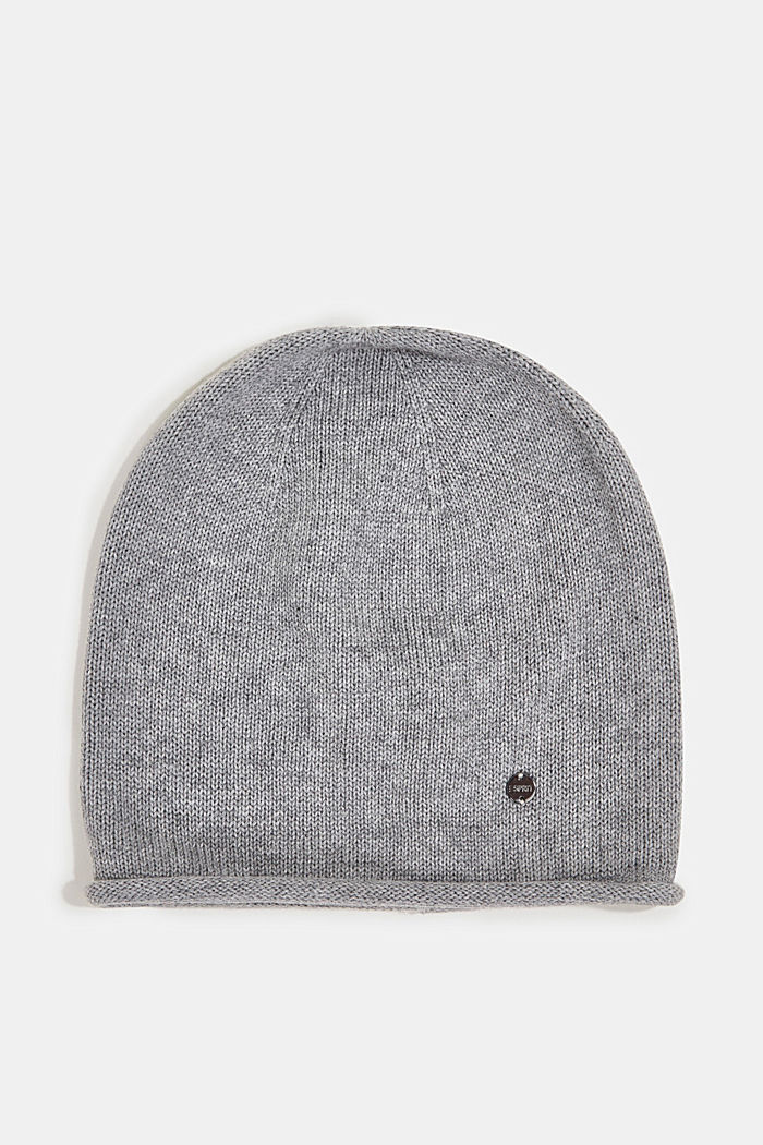 Beanie made of 100% organic cotton, LIGHT GREY, overview