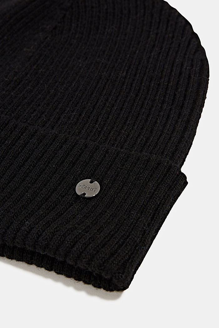 Hat made of recycled yarn, BLACK, detail image number 1