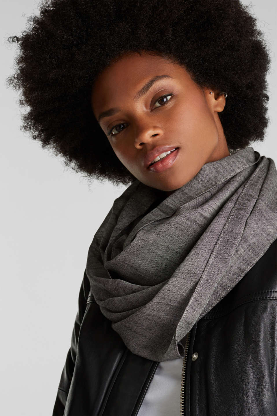 Snood made of 100% cotton, BLACK, detail image number 1