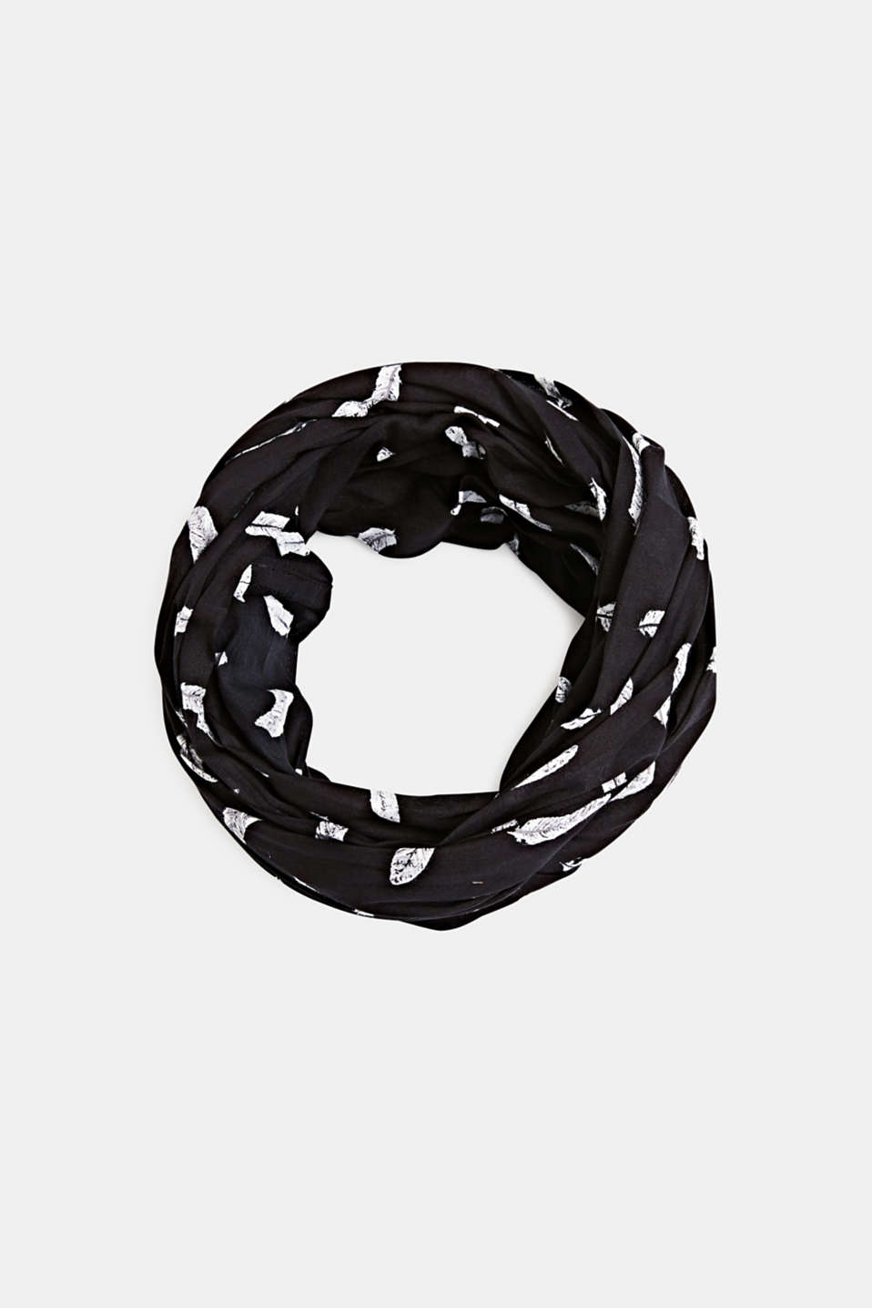 Snood with a feather print, 100% cotton, BLACK, detail image number 0