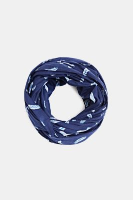 Snood with a feather print, 100% cotton, NAVY, detail