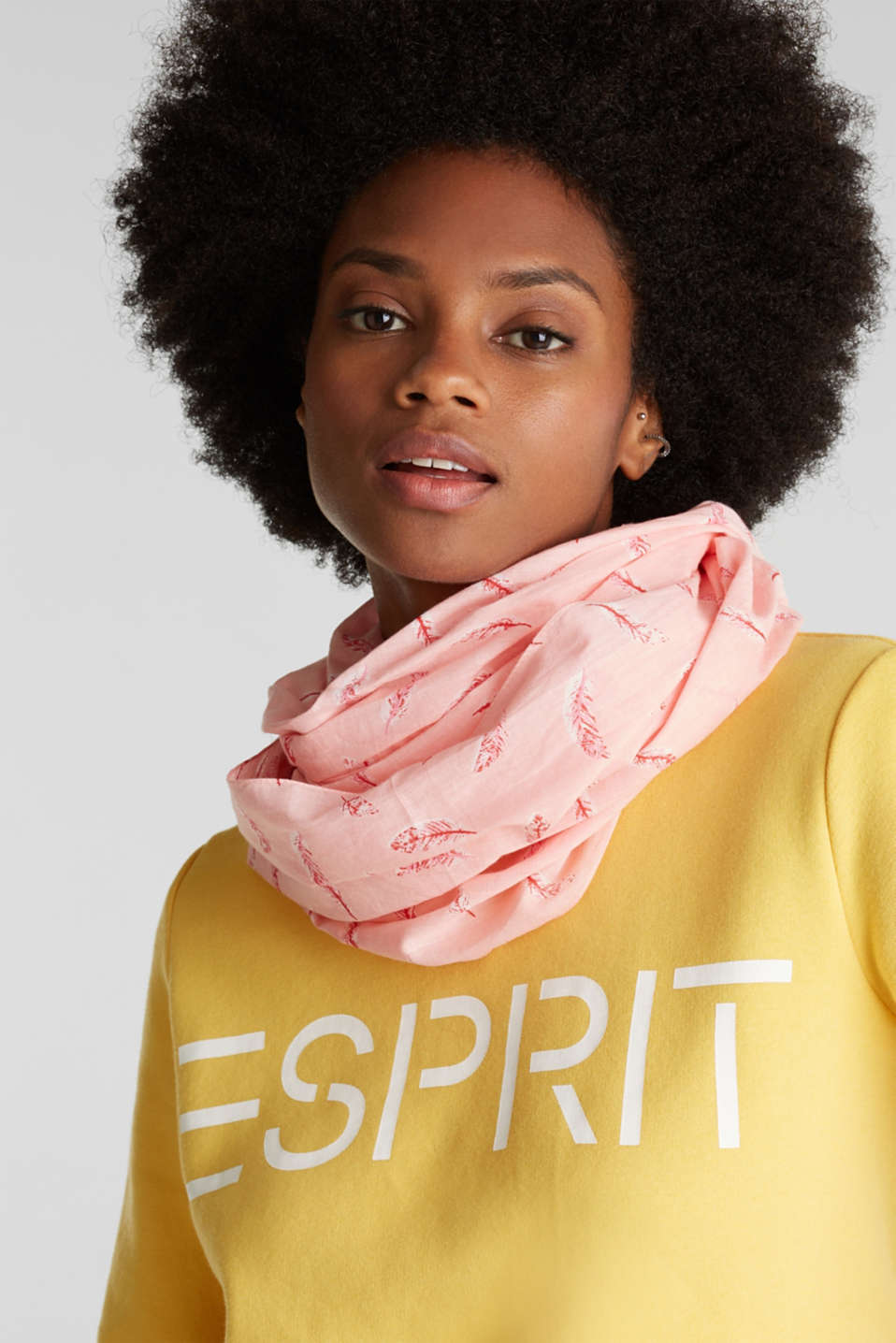 Snood with a feather print, 100% cotton, LIGHT PINK, detail image number 1