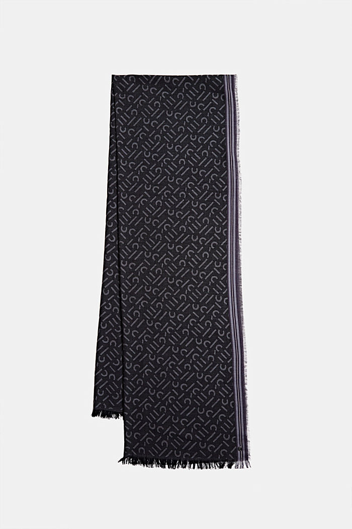 Scarf with a monogram, 100% cotton, BLACK, detail image number 0