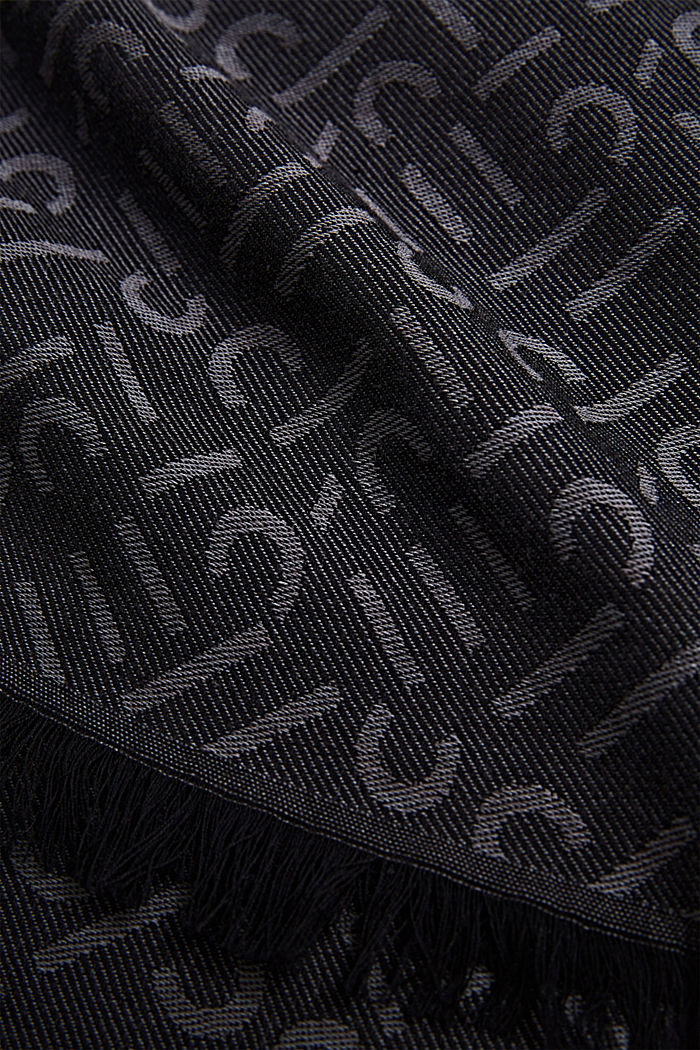 Scarf with a monogram, 100% cotton, BLACK, detail image number 2