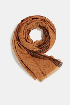 Scarf with a monogram, 100% cotton, CAMEL, detail