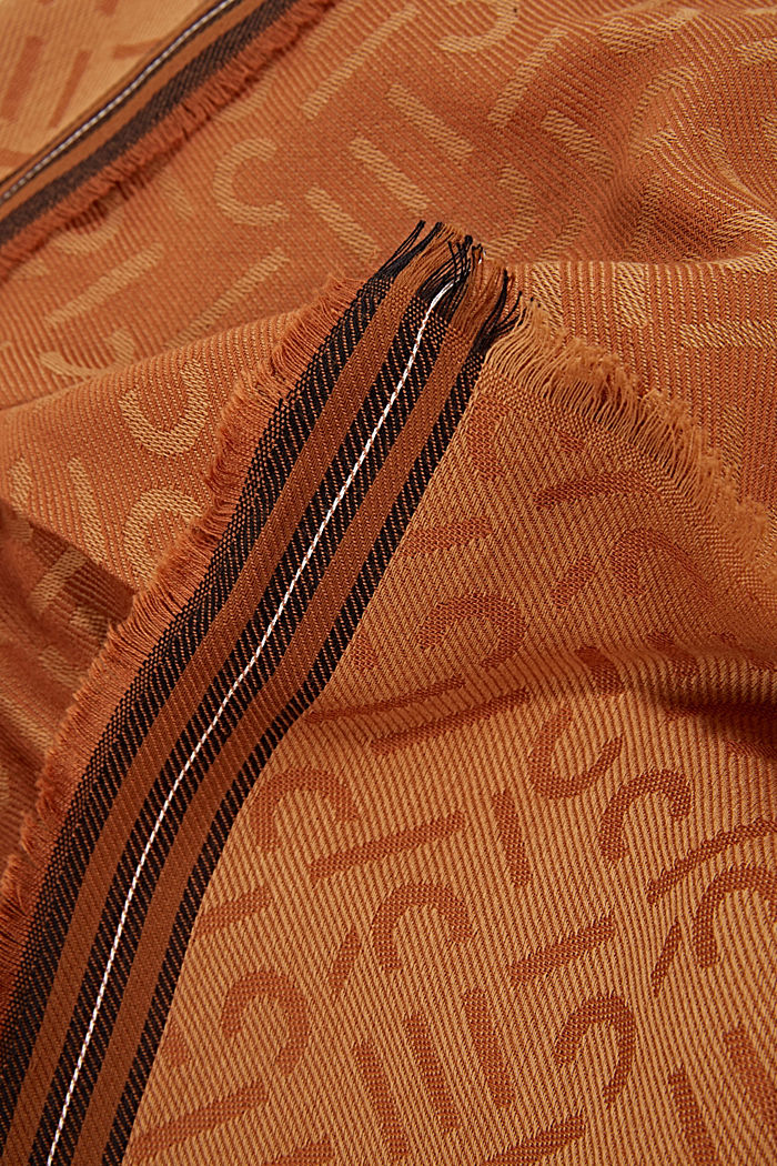 Scarf with a monogram, 100% cotton, CAMEL, detail image number 2