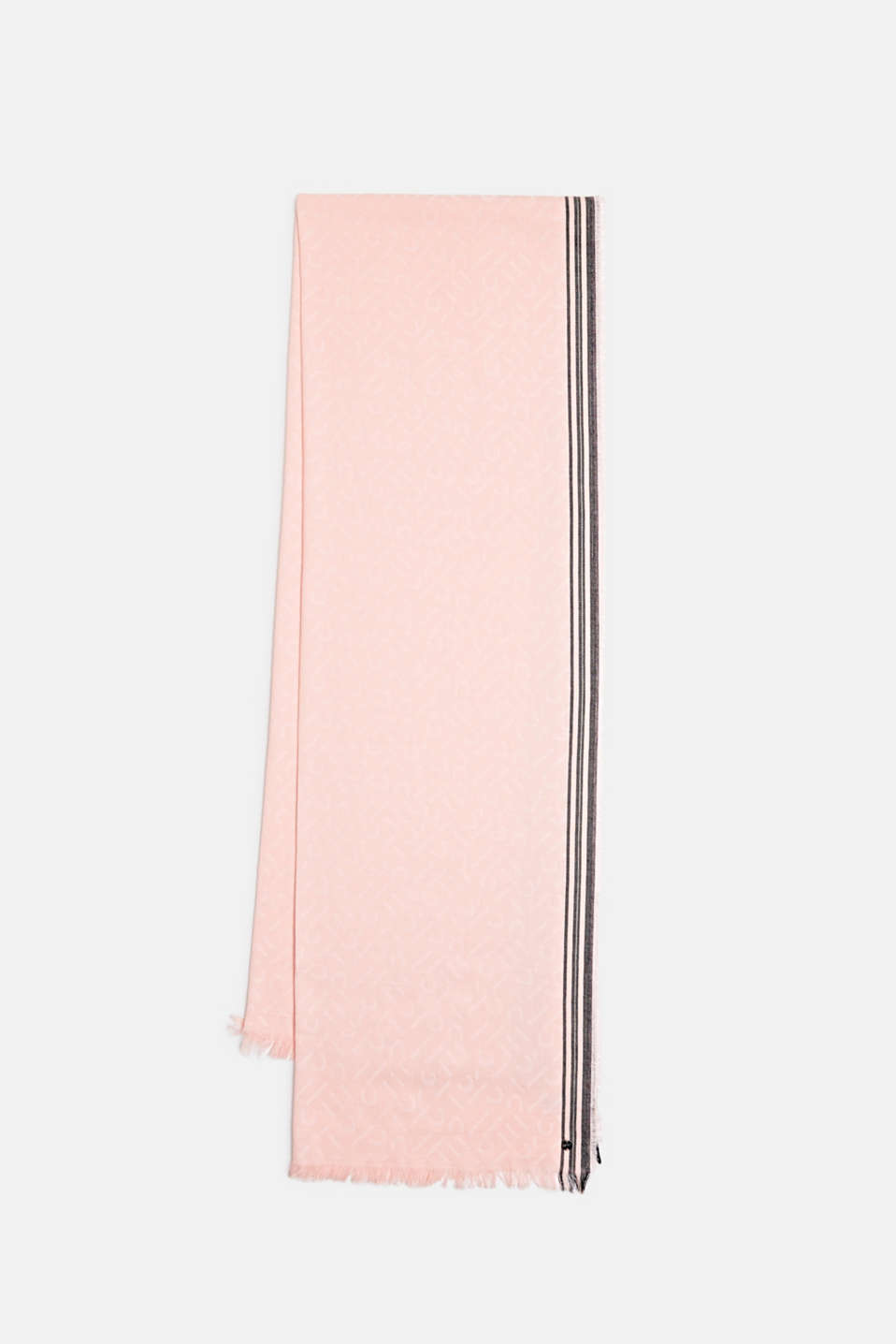 Scarf with a monogram, 100% cotton, SALMON, detail
