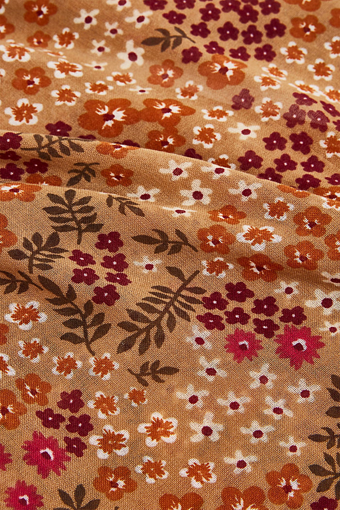 Recycled: snood scarf with a floral print, CAMEL, detail image number 2