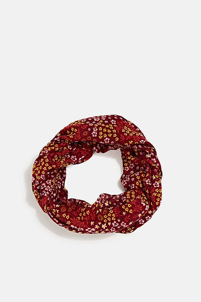 Recycled: snood scarf with a floral print, GARNET RED, detail image number 0