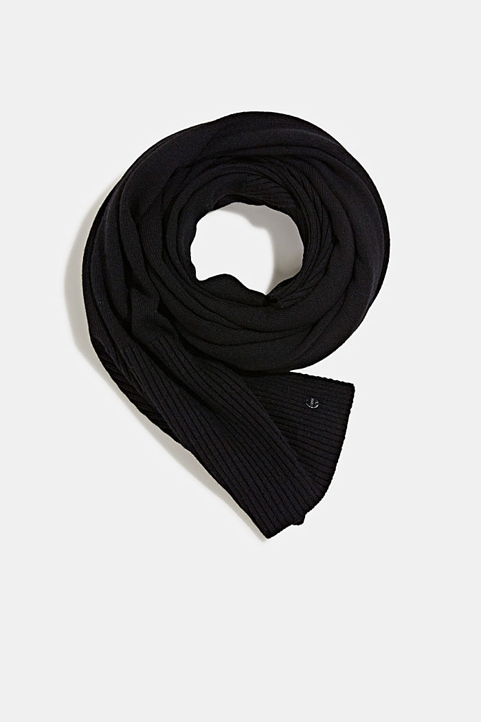 Knit scarf made of recycled yarn, BLACK, overview