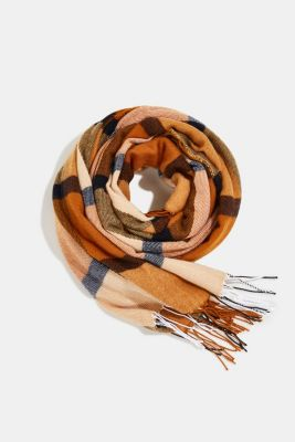 Recycled: woven scarf with a checked pattern, CAMEL, detail