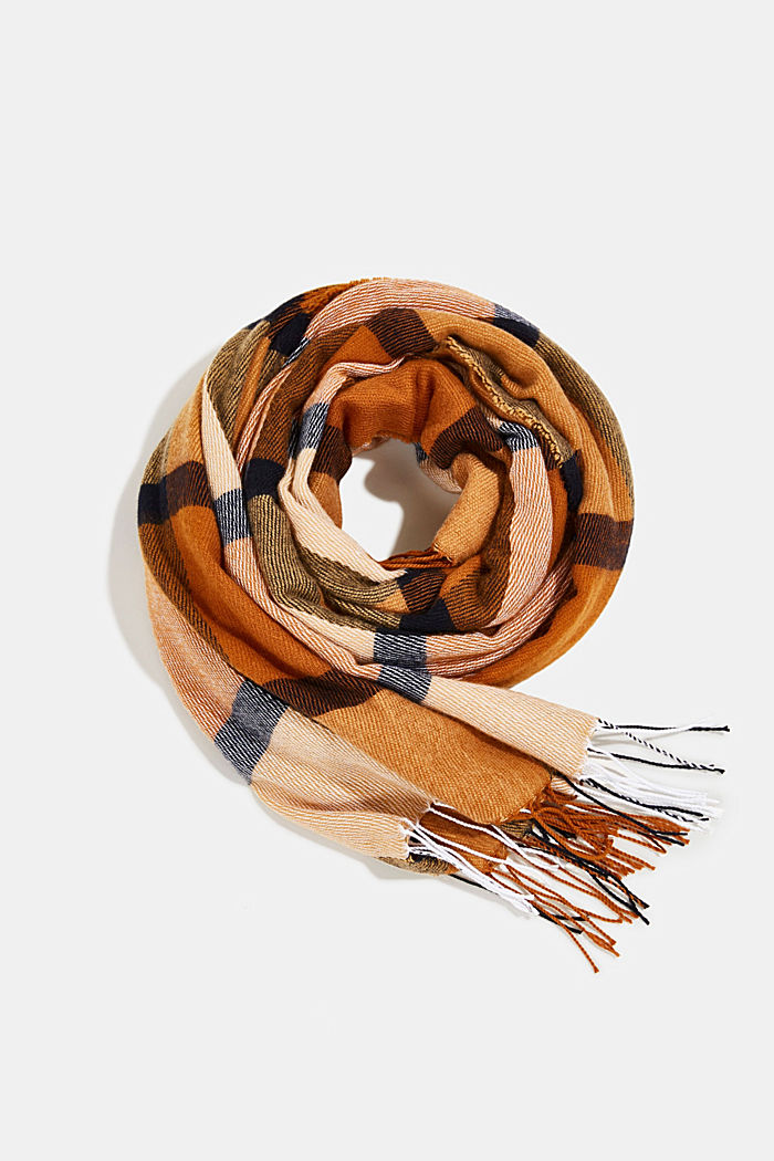 Recycled: woven scarf with a checked pattern, CAMEL, detail image number 0