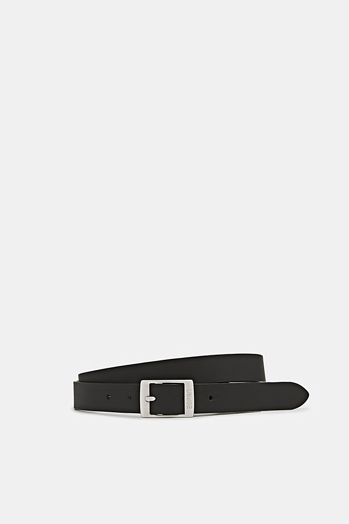 Elegant belt in a basic look made of leather, BLACK, overview