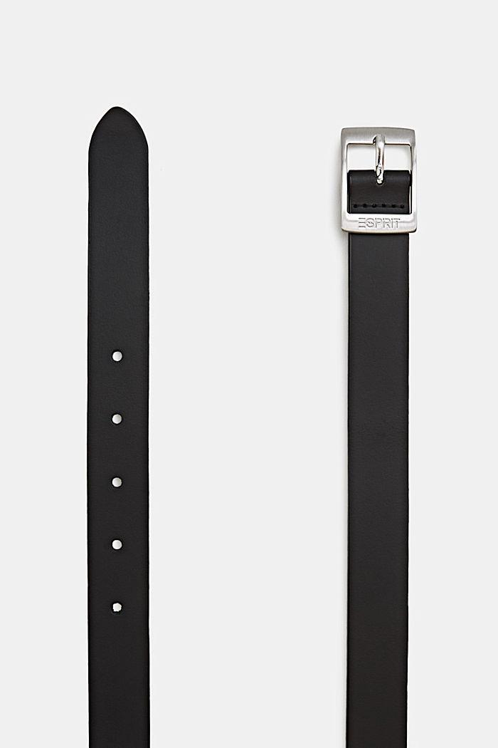 Aus Leder: feiner Gürtel im Basic-Look, BLACK, detail image number 1