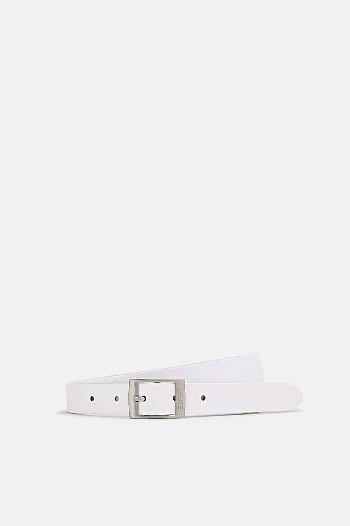 Elegant belt in a basic look made of leather, WHITE, detail image number 0