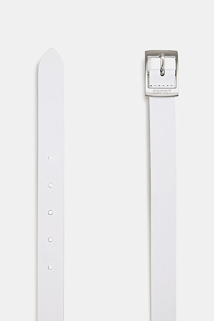 Elegant belt in a basic look made of leather, WHITE, detail image number 1