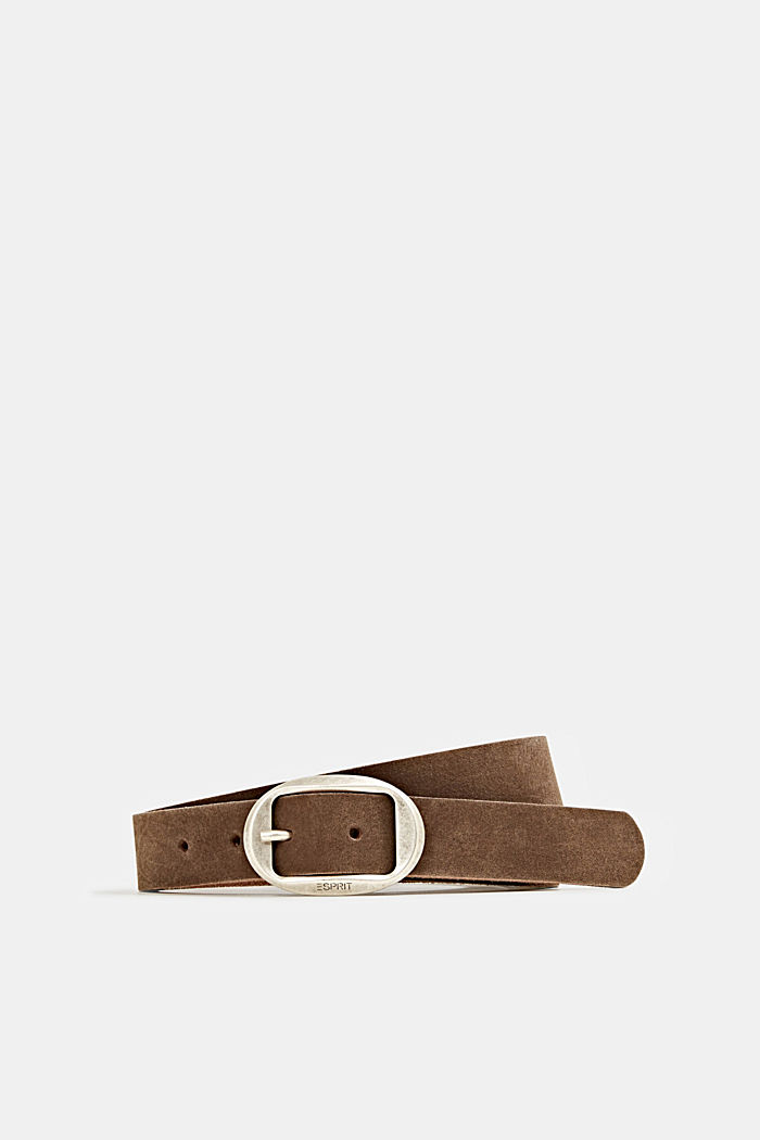 Basic suede belt, BROWN, detail image number 0