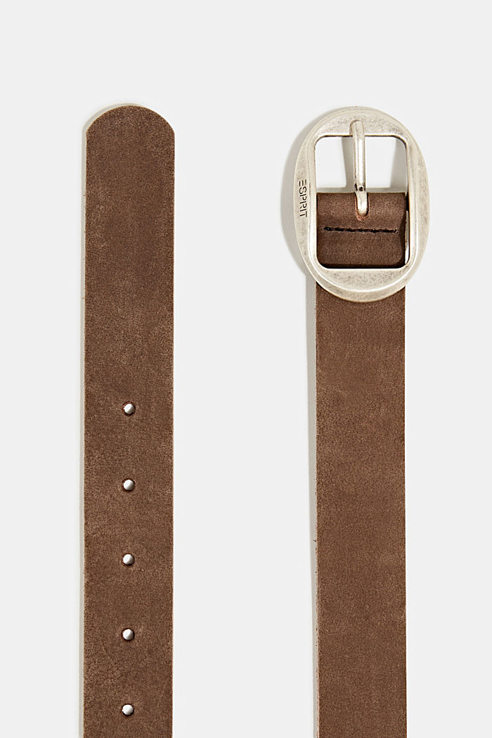 Basic suede belt, BROWN, detail image number 1