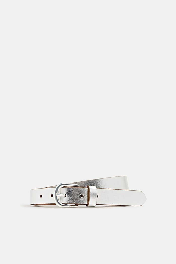 Buffalo leather belt with a metallic finish, SILVER, detail image number 0