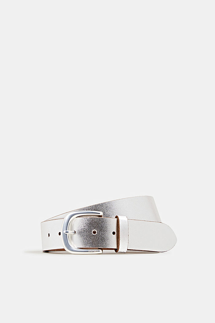 Wide, metallic leather belt, SILVER, overview