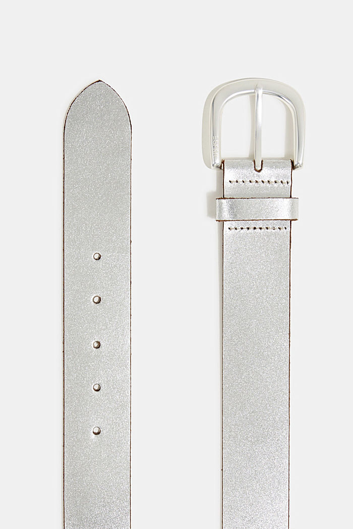 Wide, metallic leather belt, SILVER, detail image number 1