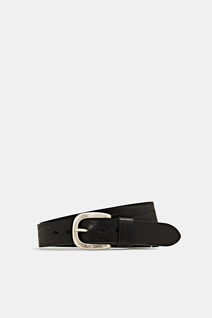 Leather belt with a metal buckle, BLACK, detail image number 0