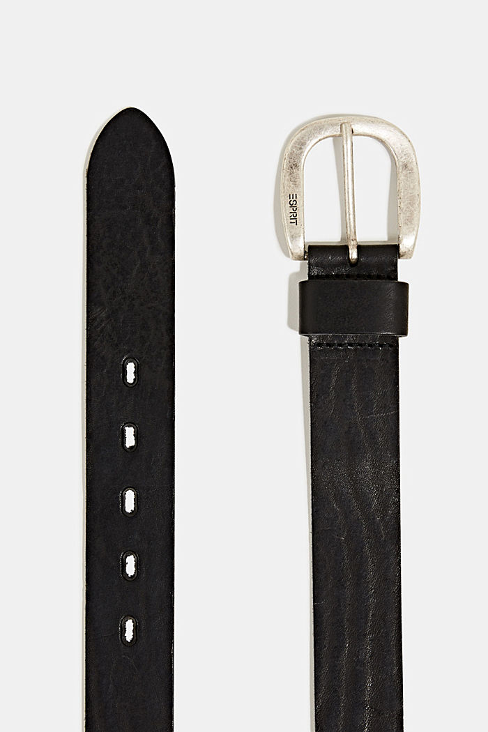 Leather belt with a metal buckle, BLACK, detail image number 1