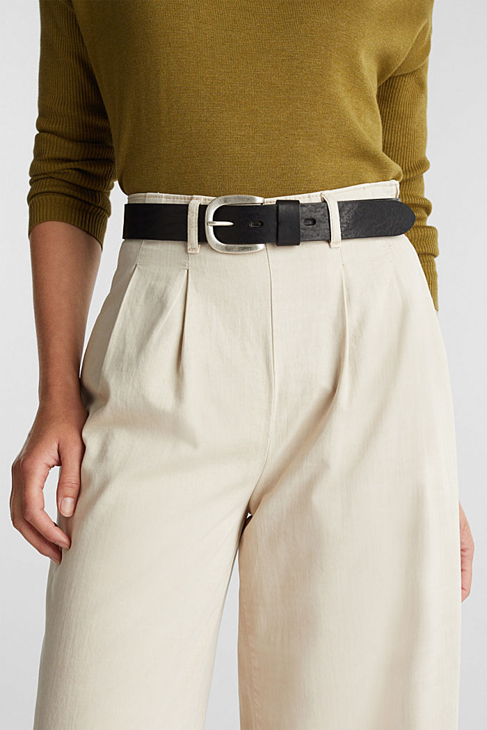 In pelle: cintura con fibbia in metallo, BLACK, detail image number 2