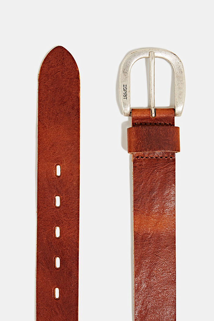Leather belt with a metal buckle, TOFFEE, detail image number 1