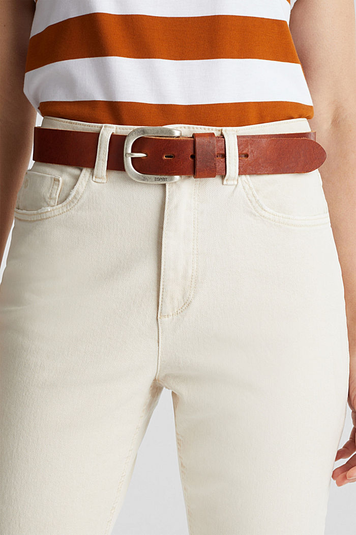 Leather belt with a metal buckle, TOFFEE, detail image number 2