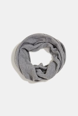 Snood scarf made of recycled yarn, GREY, detail
