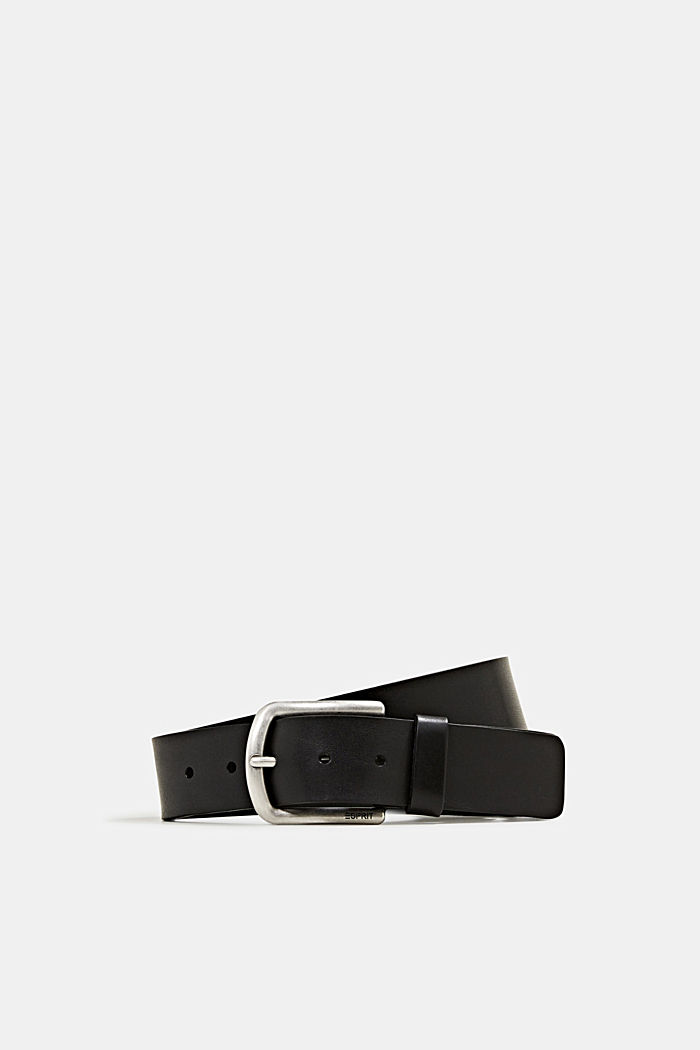 Leather belt with a matte buckle, BLACK, detail image number 0