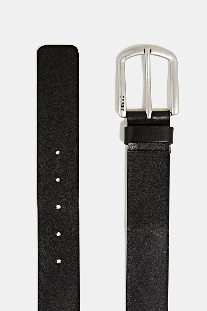 Leather belt with a matte buckle, BLACK, detail image number 1