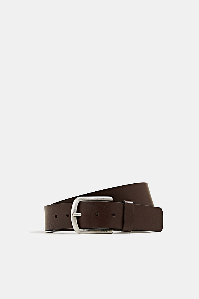 Leather belt with a matte buckle