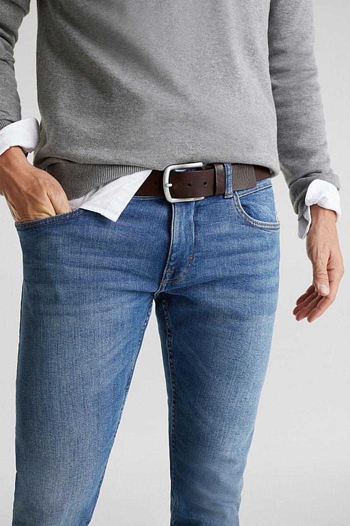 Cintura in pelle con fibbia opaca