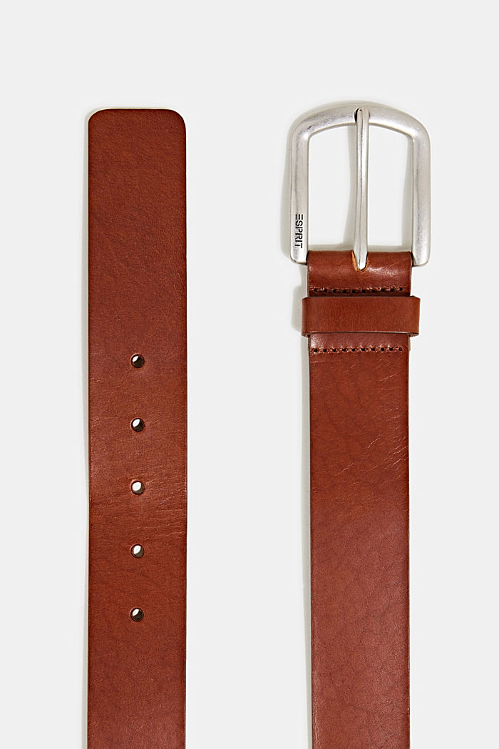 Leather belt with a matte buckle, CAMEL, detail image number 1