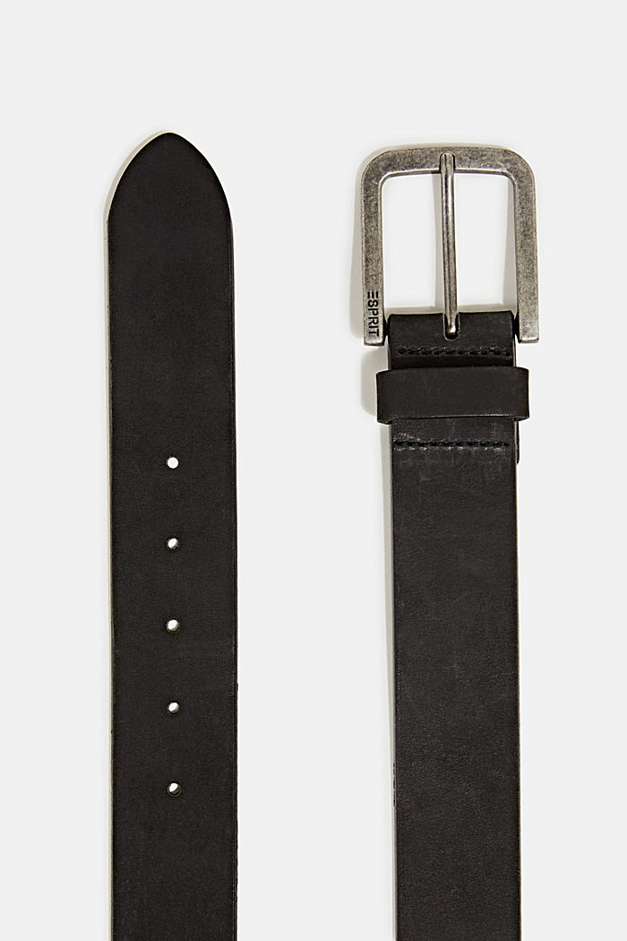 Nubuck leather belt, BLACK, detail image number 1