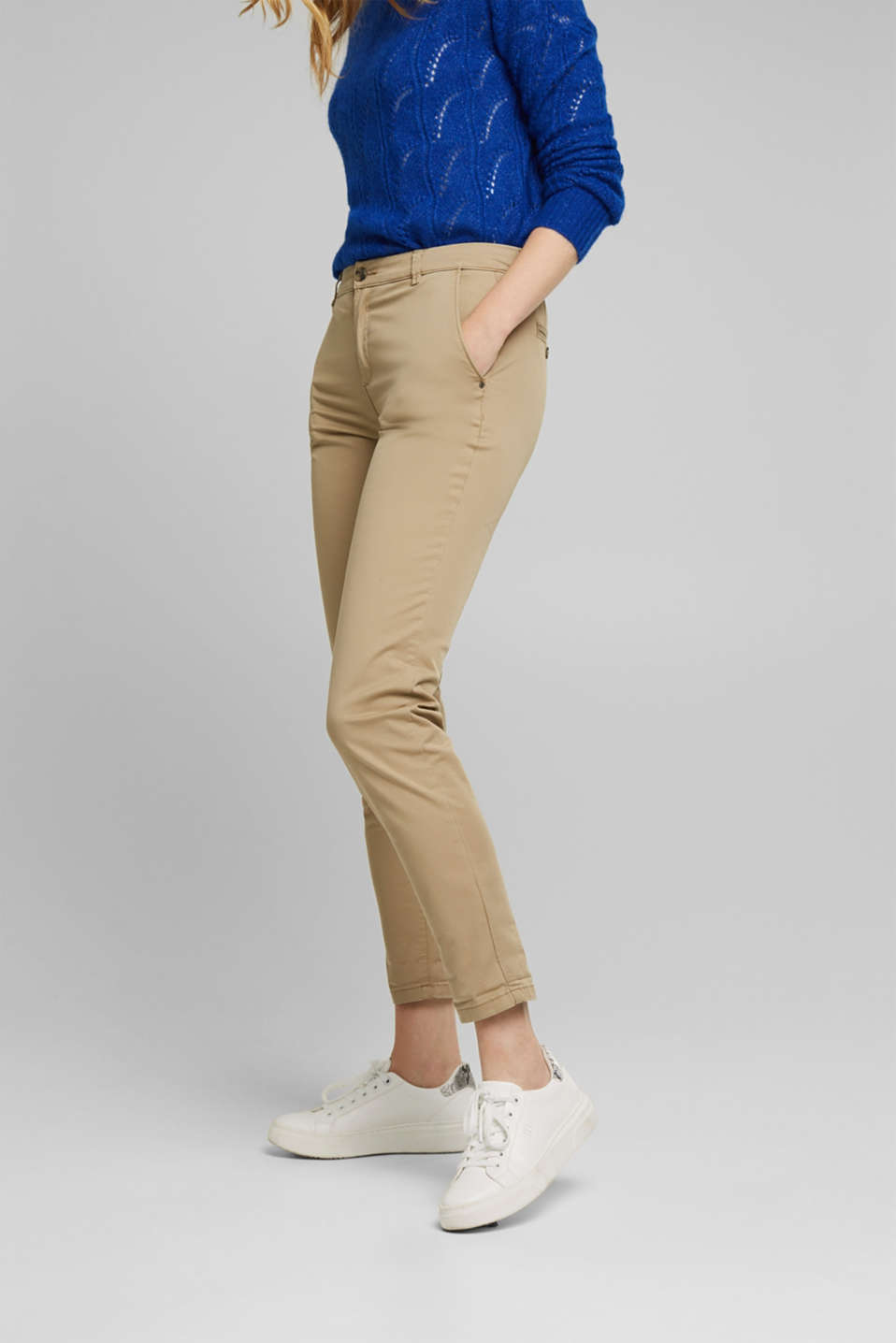 Cotton stretch chinos with Lycra xtra life™, BEIGE, detail image number 0