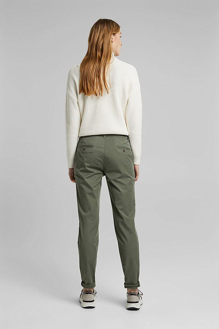 Stretch chinos with Lycra xtra life™, KHAKI GREEN, detail image number 3