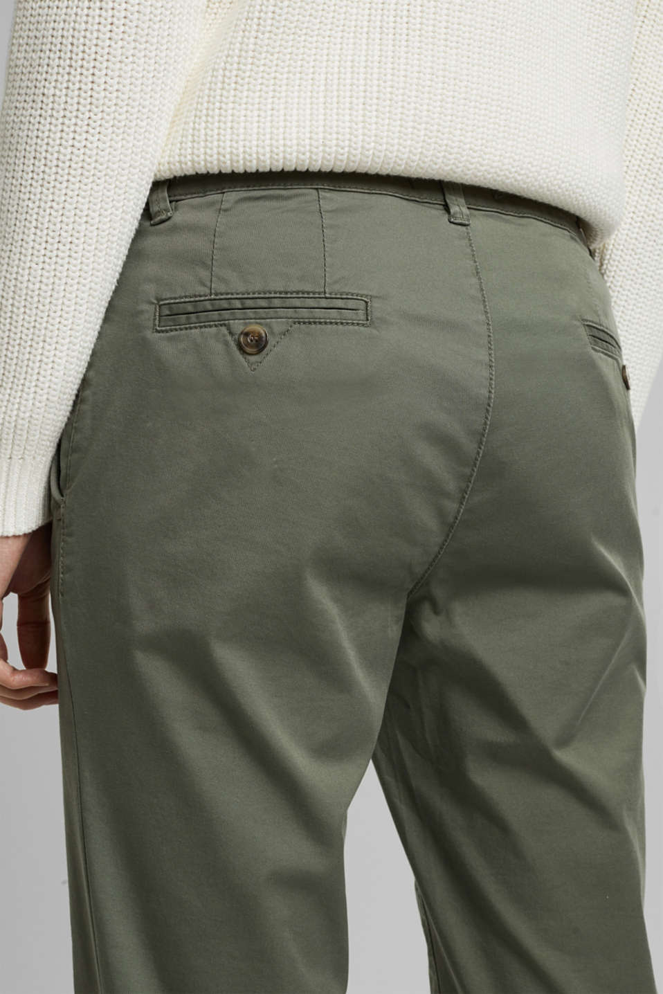 Cotton stretch chinos with Lycra xtra life™, KHAKI GREEN, detail image number 2