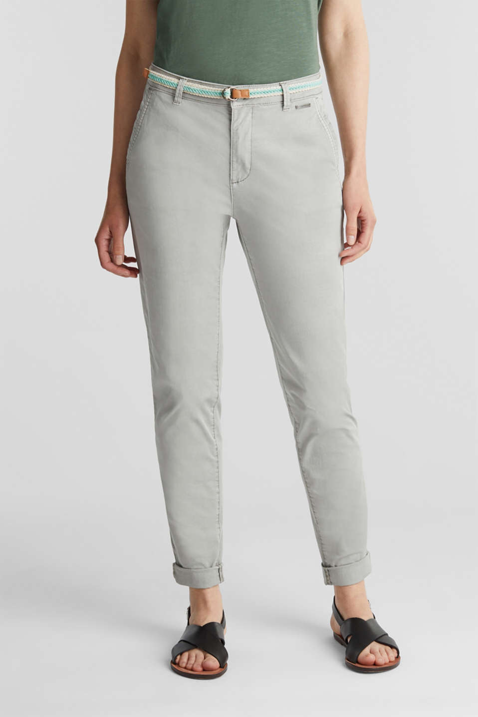 Summer chinos with stretch and a braided belt, LIGHT GREY, detail image number 0
