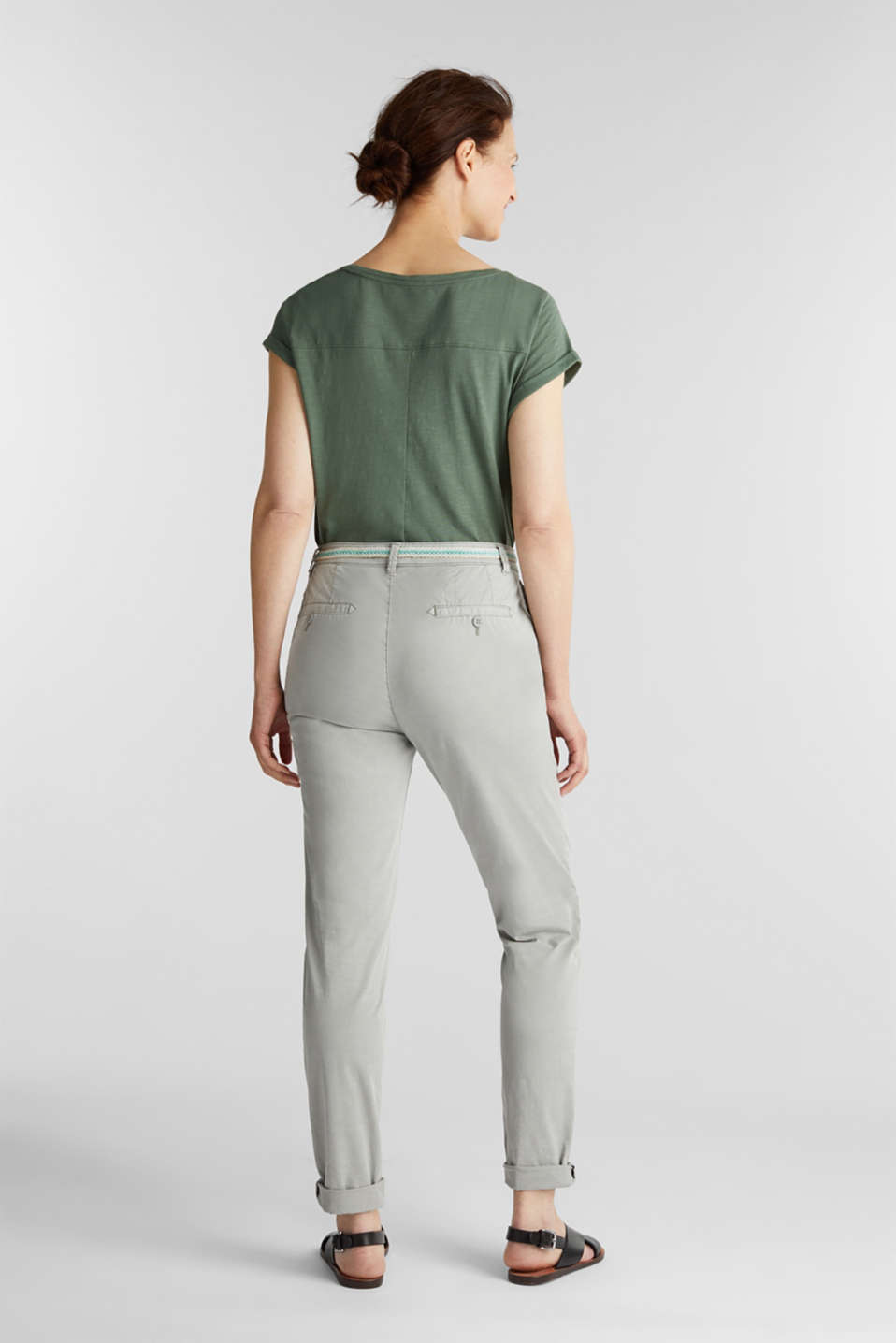 Stretch chinos with a woven belt, LIGHT GREY, detail image number 3