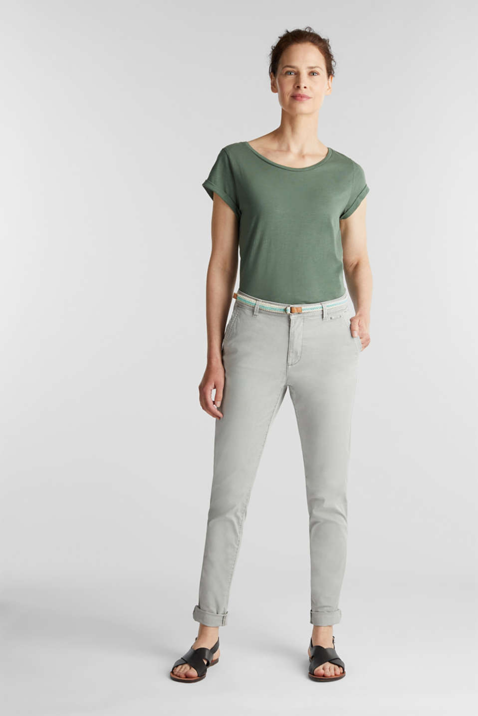 Summer chinos with stretch and a braided belt, LIGHT GREY, detail image number 1