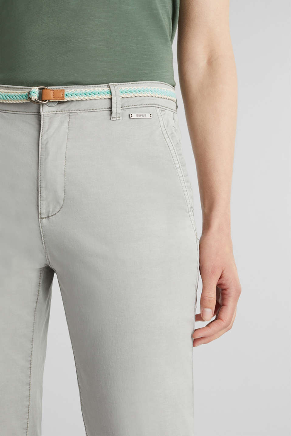 Summer chinos with stretch and a braided belt, LIGHT GREY, detail image number 2
